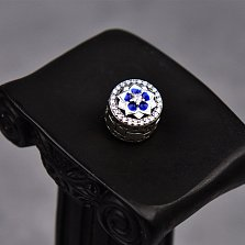Серебряная застежка-клипса Анемона с фианитами и сине-белой эмалью в стиле Пандора