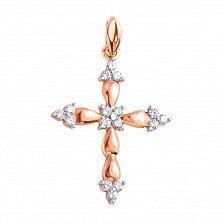 Крестик в красном золоте Мечта с бриллиантами