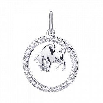 Срібний кулон Телець з фіанітами 000113671