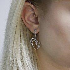 Серебряные серьги-подвески Романтика с сердечками и дорожками белых фианитов