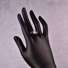 Серебряное кольцо Модная геометрия с кубиком и цирконием