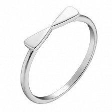 Кольцо Бантик в белом золоте