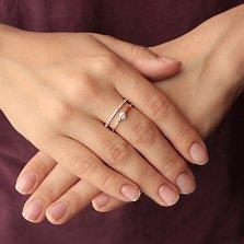Двойное золотое кольцо Нимфа с фианитами