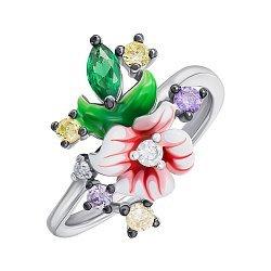 Серебряное кольцо с эмалью и фианитами 000148055