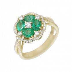Золотое кольцо Парадиз в желтом цвете с бриллиантами и изумрудами