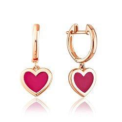 Серьги-подвески из красного золота с розовой эмалью 000126248