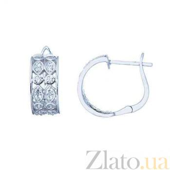 Изысканные серьги из серебра с цирконом AQA--S228550319