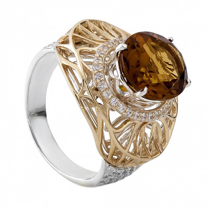 Кольцо из серебра и золота с цветным кварцем Леди 000030035