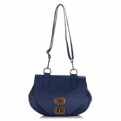 Кожаная сумка на каждый день Genuine Leather 8618 синего цвета с клапаном на механическом замке