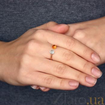 Золотое кольцо Кирина с голубым топазом и цитрином 000032747