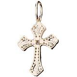 Крест из желтого золота Ариадна с фианитами