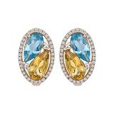 Золотые серьги с топазом, цитрином и бриллиантами Клара
