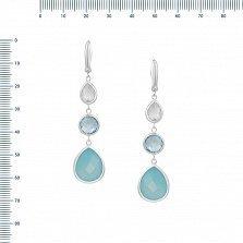 Серебряные серьги-подвески Марина с халцедоном, голубым топазом и кварцем