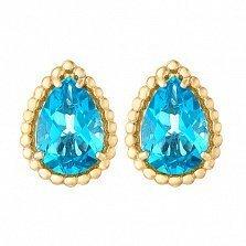 Золотые серьги Юджиния с голубыми топазами