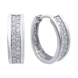 Серьги-конго из белого золота с бриллиантами 000139519