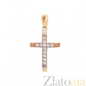 Крестик из красного золота Радость с фианитами 000081397