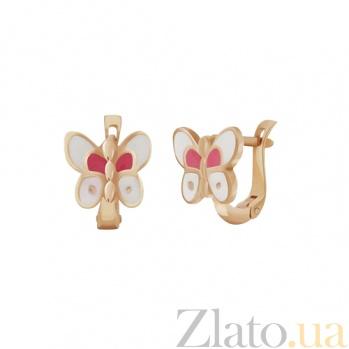 Детские золотые серьги с эмалью Бабочки 000023588