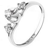Золотое кольцо Вечная любовь в белом цвете с бриллиантами