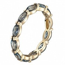 Кольцо в желтом золоте Арина с лондон топазом