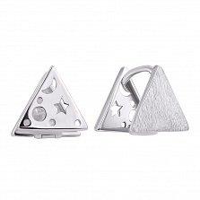Серебряные серьги-треугольники с матовой поверхностью, звездой, планетами и луной на тыльной стороне