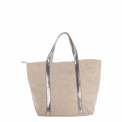 Замшевая сумка на каждый день Genuine Leather 8003 бежевого цвета на молнии с пайетками