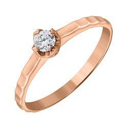 Кольцо из красного золота с бриллиантом 0,18ct 000034644