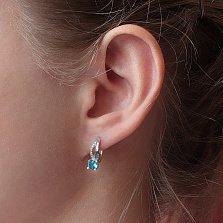 Серебряные серьги Катрина с голубым кварцем и фианитами