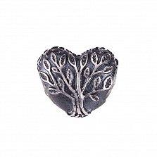 Серебряный подвес-шарм Древо вечной любви в форме сердца с чернением