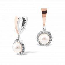 Серебряные серьги-подвески Каролина с золотыми накладками, имитацией жемчугом и фианитами