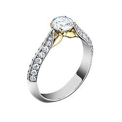 Золотое кольцо с бриллиантами и аквамарином Грани неизвестного 000020911