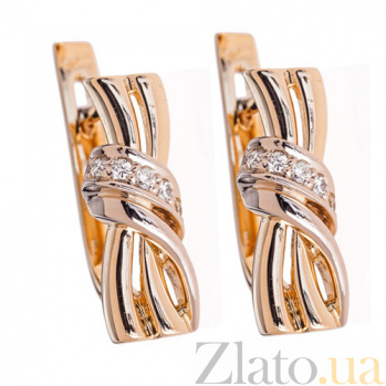 Серьги золотые Cepheus с бриллиантами E510c