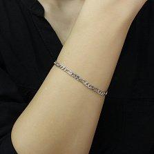 Серебряный браслет Даяна в плетении Картье с родием, 4мм