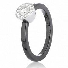 Черное керамическое кольцо Гвендолин с серебром и фианитами