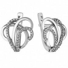 Серебряные серьги Фонтан с цирконием