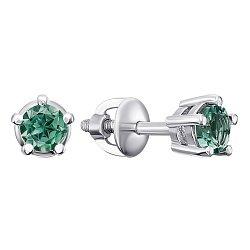 Серебряные серьги-пуссеты с зеленым кварцем, 6мм 000010928