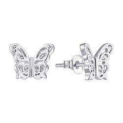 Серебряные серьги-пуссеты с цирконием 000140528