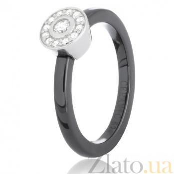 Черное керамическое кольцо Гвендолин с серебром и фианитами 000030961