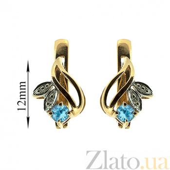 Золотые серьги с бриллиантами и топазами Подарок природы ZMX--ET-15678_K