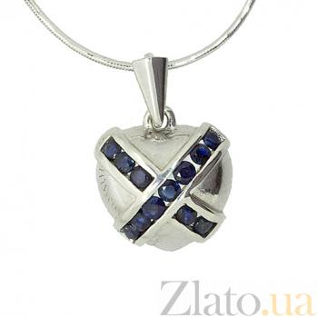 Серебряный подвес с сапфирами Сердце ангела ZMX--PS-6076-Ag_K