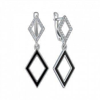 Серебряные серьги с фианитами и эмалью 000150800