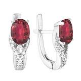 Серебряные серьги с рубином Тропикана
