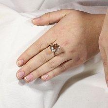 Золотое кольцо Саманта с раухтопазом и фианитами