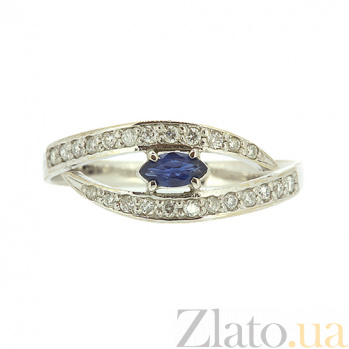 Кольцо из белого золота с сапфиром и бриллиантами Лада ZMX--RS-6730w_K