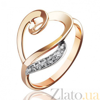 Золотое кольцо с цирконием Сердце Изабель EDM--КД0393