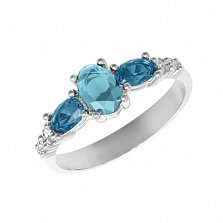 Серебряное кольцо Ундина с лондон кварцем, голубым кварцем и фианитами
