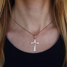 Золотой крестик Лик Божий в красном цвете металла