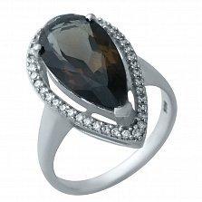 Серебряное кольцо Миранда с раухтопазом и фианитами
