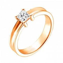 Кольцо из красного золота Елена с бриллиантом огранки принцесса