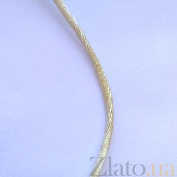 Шелковый шнурок молочного цвета с серебряной застежкой, 2мм 000026968