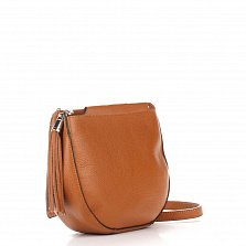 Кожаный клатч Genuine Leather 8887 коньячного цвета с замком-молнией и плечевым ремнем